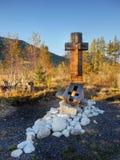 Christian Cross nel paesaggio Fotografie Stock Libere da Diritti