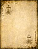 Christian cross on old paper or parchment. Background texture vector illustration