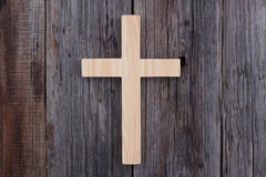 Christian cross old wood wooden background. Christianity Royalty Free Stock Photo