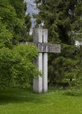 Christian cross outdoor. Made of stone stock image