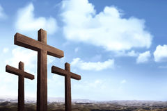 Christian cross over blue sky background Royalty Free Stock Photo
