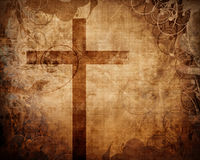Christian cross on paper background Stock Photo