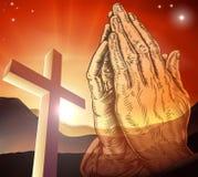 Christian Cross Praying Hands Stock Photos