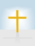 Christian cross radiant on blue sky background Stock Photo