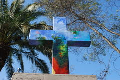 Christian Cross at San Cristobal hill in Chile Royalty Free Stock Images