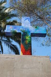 Christian Cross at San Cristobal hill in Chile Royalty Free Stock Photography