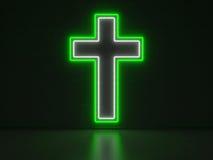Christian Cross - serieneontecken Arkivfoto