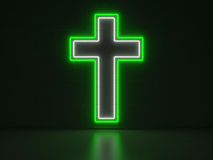 Christian Cross - Series Neon Signs Stock Photo