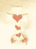 Christian Cross som visar förälskelse och offer Royaltyfria Bilder