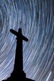 Christian Cross Star-trail Stock Image