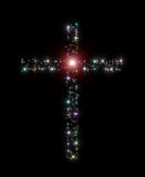 Christian cross stars. Abstract illustration repredenting the decorative Christian latin cross made of variegated twinkling sparkling stars as a symbol of Jesus Stock Photo