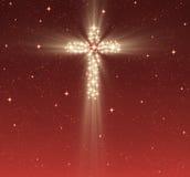Christian cross in stars. Great glowing christian cross in starry night sky Stock Photos