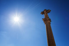 Christian cross with sunlight beams Stock Images