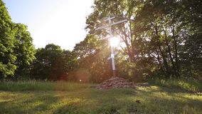 The Christian Cross. On sunset stock video footage