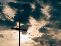 Christian cross on sunset Stock Image