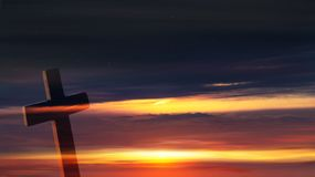 Christian cross on sunset background. Way to God . bright light from heaven . Religious background stock photography