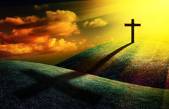 Christian cross. On sunset background for your design Stock Images