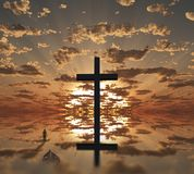 Christian Cross on Sunset. Man with boat near giant cross with sunrise background. Human elements were created with 3D software and are not from any actual human Royalty Free Stock Photo