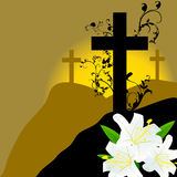 Christian cross and three white lily Stock Photos
