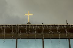 Christian cross on top of the building Royalty Free Stock Image