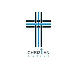 Christian Cross true belief in God vector symbol, Christianity r Stock Photo