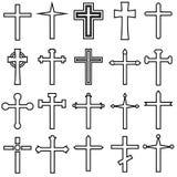 Christian cross vector icons cet. Christian cross icon illustration. Christian cross symbol collection. stock illustration