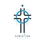 Christian Cross vector symbol, Christianity God religion icon. Royalty Free Stock Photography