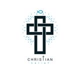 Christian Cross vector symbol, Christianity God religion icon. Creative and conceptual sign Stock Photography