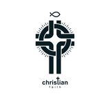 Christian Cross vector symbol, Christianity God religion icon. Royalty Free Stock Photos