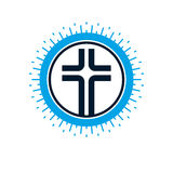 Christian Cross vector symbol, Christianity God religion icon. Stock Images
