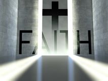 Christian cross on wall, concept of faith Stock Photo