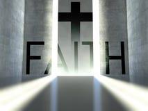 Christian cross on wall, concept of faith stock photo