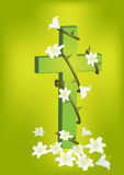 Christian cross and white lily  1 Stock Image