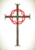 Christian cross and wreath Stock Photos