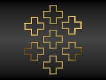 Christian crosses. Seven golden christian crosses on black background Stock Images
