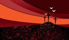 Christian Crosses against collage effect sky backgground stock illustration