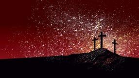 Christian Crosses against graphic splattered red sky background royalty free illustration