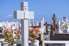 Christian crosses in cemetery Stock Photography