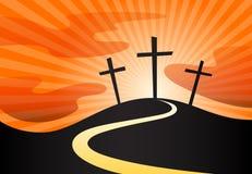 Christian crucifix silhouette of cross symbol on hill with sunrays. Christian crucifix silhouette of calvary cross symbol on hill and sky sunrays background stock illustration