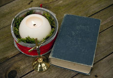 Christian Decoration. Decorative Candle with Bible and Jesus Cross stock photos