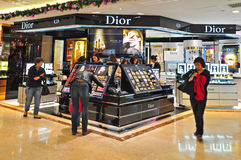 Christian dior beauty care products. A collection of christian diors prestige skincare, makeup, fragrance and related care products on display at the prestigious Royalty Free Stock Image