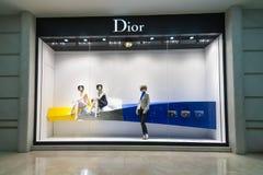 Christian Dior boutiqueskyltfönster chihominh vietnam Royaltyfri Fotografi