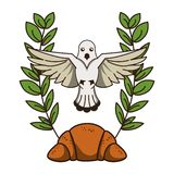 Dove and bread on wreath. Christian Dove and bread on wreath vector illustration graphic design vector illustration