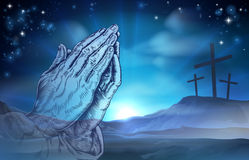 Christian Easter Praying Hands and Crosses Stock Photography