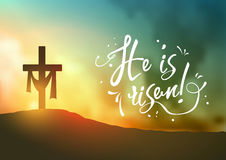 Christian easter scene, Saviour`s cross on dramatic sunrise scene, with text He is risen, illustration Royalty Free Stock Photography