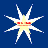 Christian Easter theme with stars and text He is risen - celebrate the resurrection Stock Images