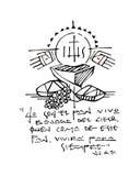 Christian Eucharist Symbols och uttrycksfärgpulverillustration vektor illustrationer