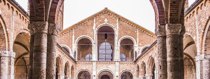Church in Milan, middle ages, construction and historic buildings royalty free stock photos