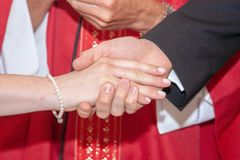 Christian faith weddings ceremony and refreshments. Celebration of the rite in the church italy europe stock images
