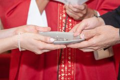 Christian faith weddings ceremony and refreshments. Celebration of the rite in the church italy europe royalty free stock photo